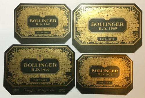 ÉTIQUETTES CHAMPAGNE- 4 MILLÉSIMES 1961-1969 1973-1979 BOLLINGER #4802