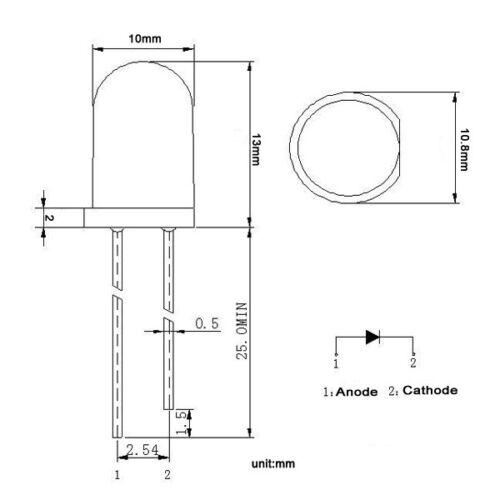 50 × 10 mm DEL jaune diode électroluminescente Round Top Eau Clair Lentille Avec Edge