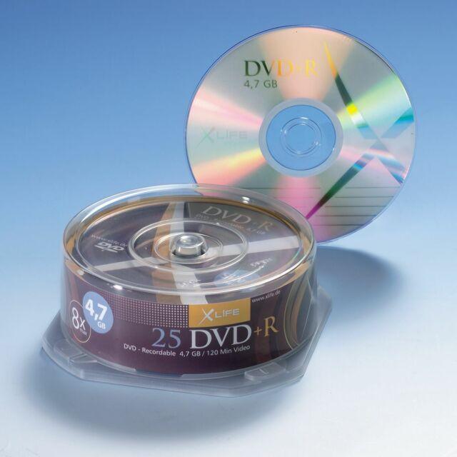 X-LAYER DVD+R 4,7 GB / 120 min, 25er Cakebox Spindel, 8x Brenngeschwindigkeit,