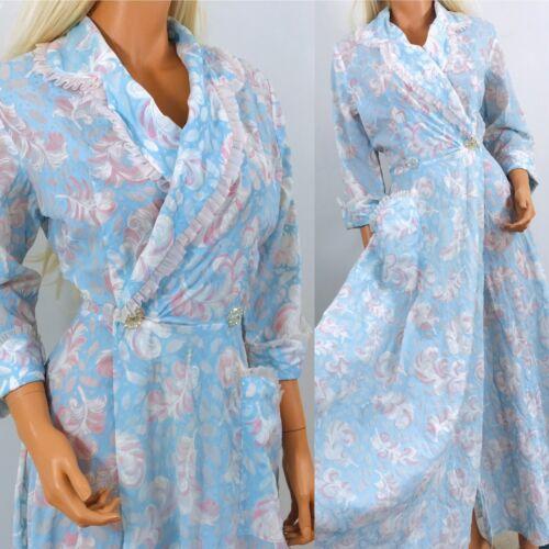 Vintage 1940s robe Feather print novelty pastel bl