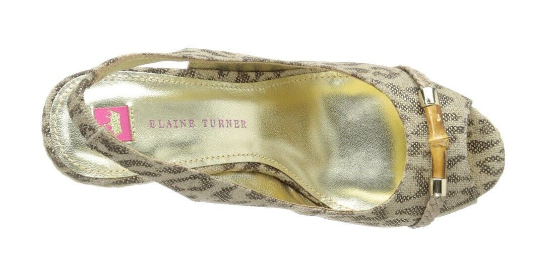 Elaine Turner Turner Turner para mujer Harper Cuña puntera abierta en Cheetah 10M Nuevo En Caja 04989c