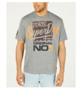Superdry Men/'s Graphic Print Logo Dark Concrete Gray S//S T-Shirt