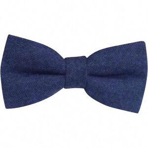 New-Dark-Navy-Blue-Tweed-Wool-Pre-Tied-Mens-Bow-Tie-Great-Reviews-UK
