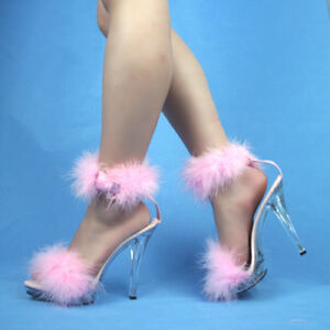 WOMEN-SHOES-CLEAR-SANDAL-HEEL-LIGHT-BABY-PINK-FUR-STRAP-POLE-DANCING-COSPLAY