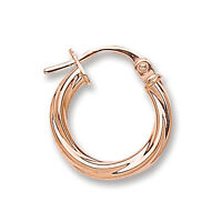 9ct Rose Gold Twisted Round Hoop Earrings 14mm 0.7g & Box Uk Made Quality