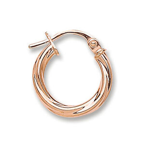 Image Is Loading 9ct Rose Gold Twisted Round Hoop Earrings 14mm