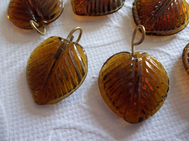 12 Smoke Topaz Brown Leaf Charms Beads Leaves with Brass Loops 16mm