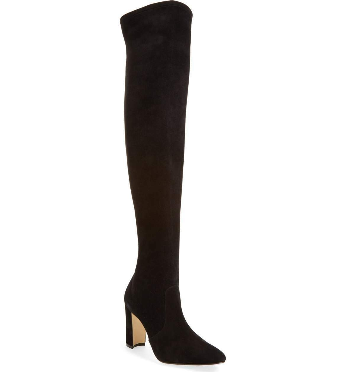 New sz 8 / 38.5 Manolo Blahnik Pascalla Over the Knee Black Suede Boot Shoes
