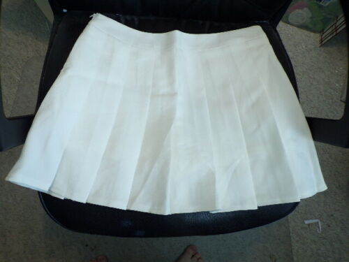 "HOEREV HIGH WAIST SHORT PLEATED TENNIS SKATE SKIRT WHITE SZ XL 30/"" WAIST NIP"