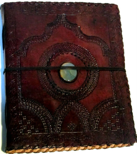Handmade 8x10 Trifold Embossed Leather Journal Album with Center Stone