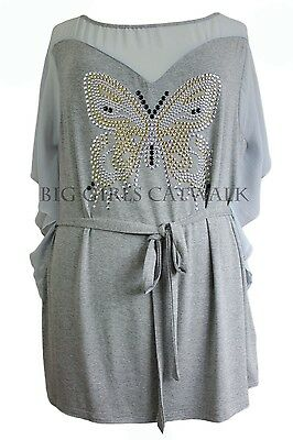 Ladies Tunic Top Grey Butterfly Stud Plus Sizes 16, - 30 / 32