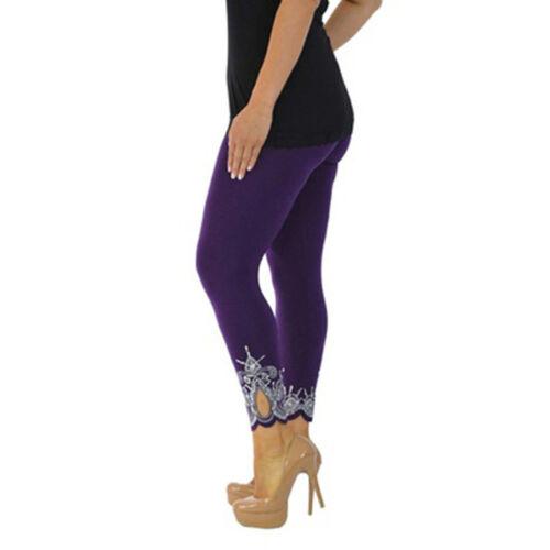 Ca Womens High Waist Cropped 3//4 Length Cotton Capri Leggings Pant Trouser Lace
