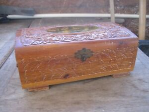 Details About Vtg Wooden Trinket Box With Mirror In Lid Fancy Design With Picture On Lid
