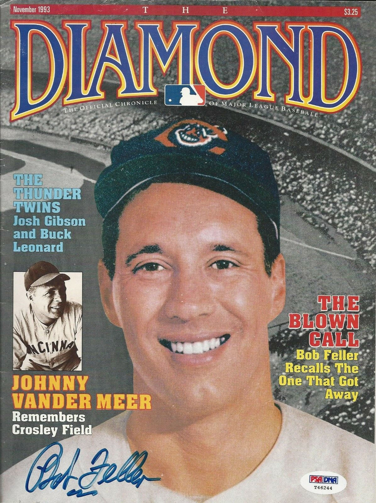 Bob Feller Signed The Diamond Magazine PSA/DNA COA # T46244