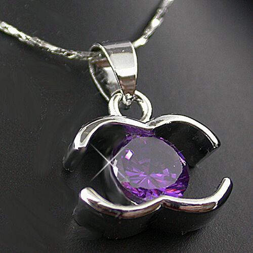 """1.80ct Created AMETHYST Pendant /& FREE 16.5/"""" Necklace14K White Gold EPNEW"""