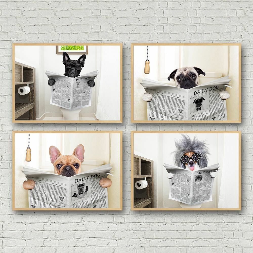 x4 Frameless 20x40cm Modern Poster Dog Reading Wall Art Pictures Print on Canvas Animal Newspaper Funny Dog Toilet Art Poster for Living Room Home Decor