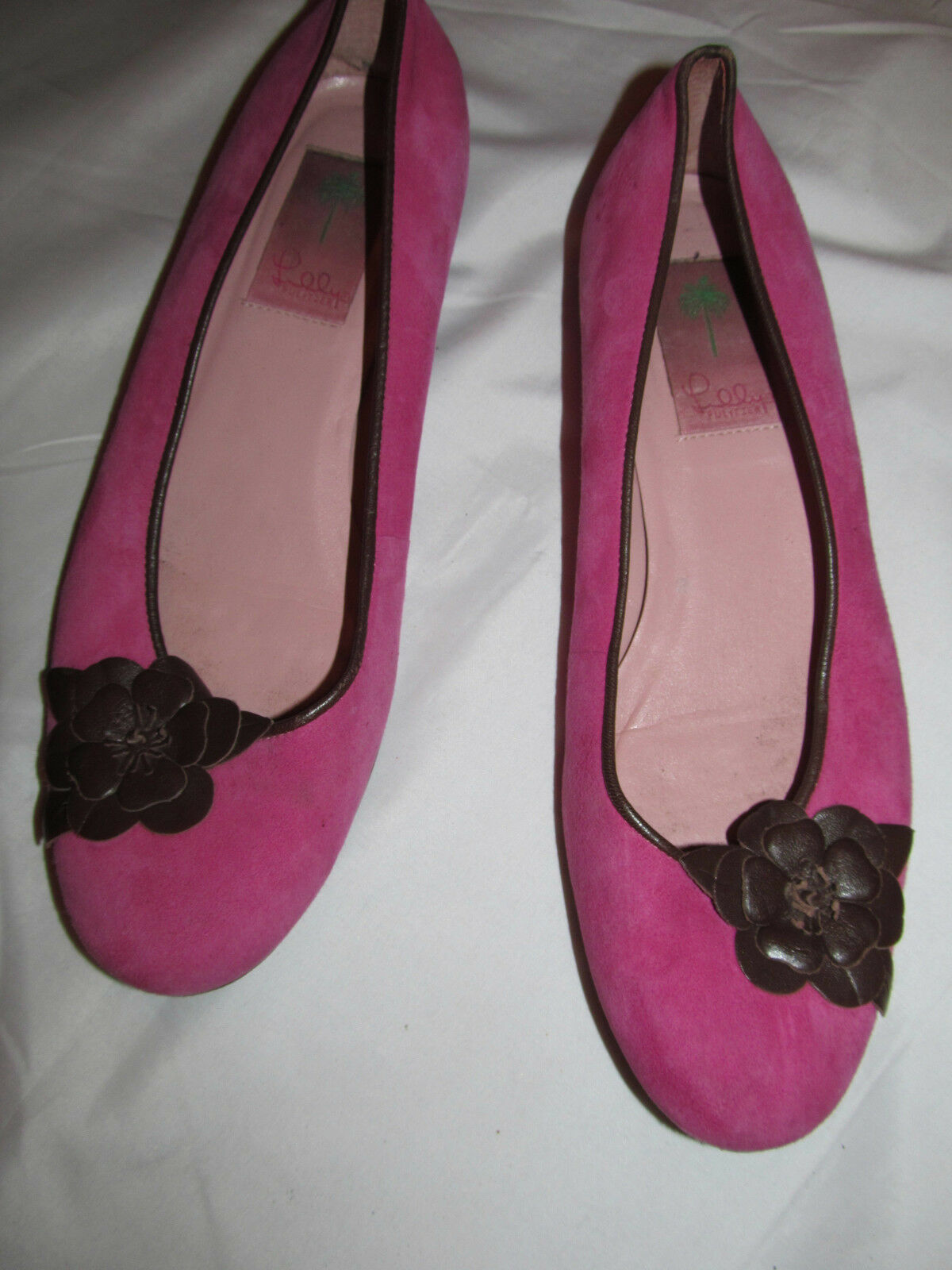 LILLY PULITZER raspberry pink suede flats with flower rosette applique shoes 8
