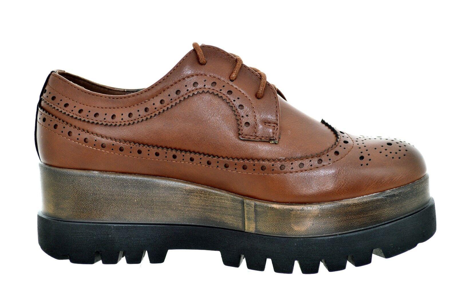 a514e7b3ea5b94 Scarpe donna inglesina platform marroni sneakers con zeppa francesine  invernali