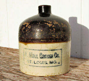 A MOLL GROCER ST LOUIS ADVERTISING STONEWARE CROCK MOONSHINE WHISKEY JUG STORE