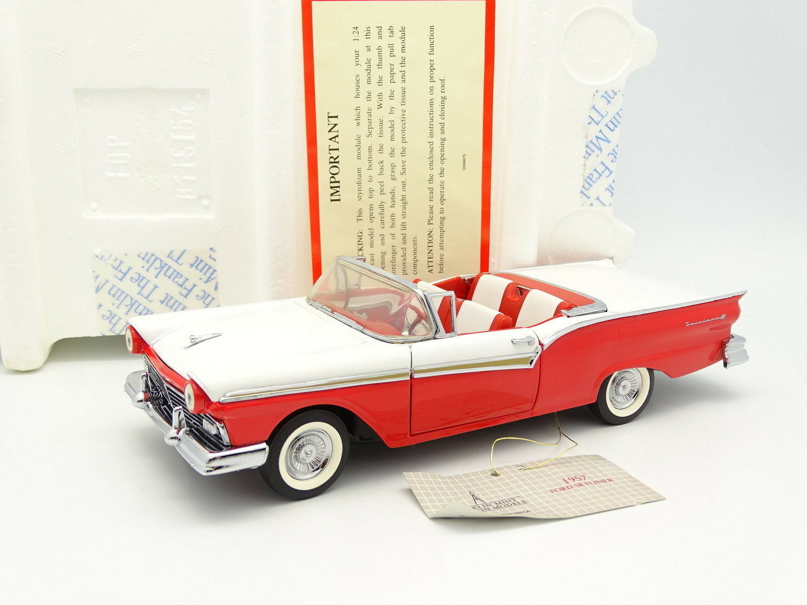Franklin - mint - 1   24 - ford skyliner 1957 rot e bianco - tetto a scomparsa