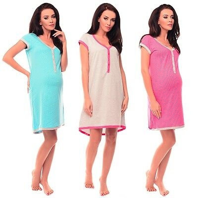 Purples Maternity Nightdress for Pregnant Breastfeeding Women with Star Print 5038n
