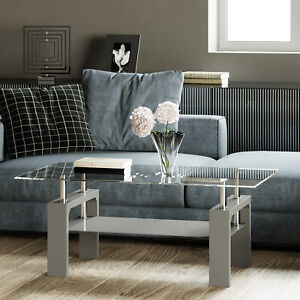 Details About Metro Modern High Gloss Rectangle Glass Coffee Table Living Room Coffee Table