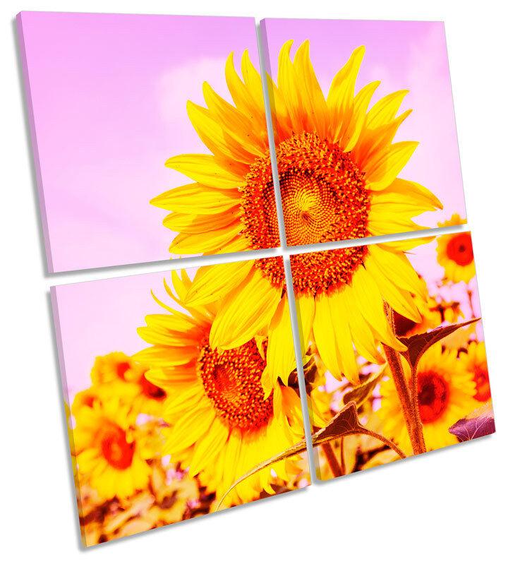 Sunflower Field Sunset Floral MULTI CANVAS Wand Kunst Square Bild