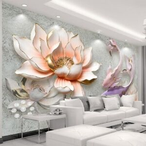 Details About 3d Modern Lotus Fish Floral Flower Wall Mural Wallpaper Living Room Bedroom