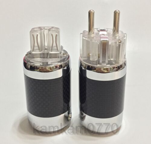 Eu Schuko plug One set Vanguard Carbon Fiber Ag Silver Plated IEC connector