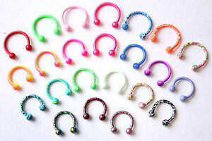 16g-Bright-Color-Jewelry-HORSESHOE-ring-CBB-bar-Helix-Conch-Tragus-Piercing