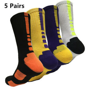 Hommes-5-Paires-Sport-Chaussettes-Crew-Patinage-Basket-ball-Socquette-Casual-Socks-7-12