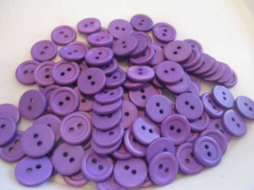 NEW LOT OF 100 PURPLE COLOR 2 HOLE 9//16 INCH BUTTONS