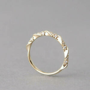Ribbon-Style-14k-Gold-Ring-With-Diamond-Hand-Jewelry-Beautiful-Women-Girls-new