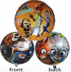 2PCS ZOOTOPIA JUDY NICK BIRTHDAY BALLOON PARTY LOLLY