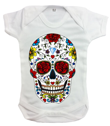 Candy Skull Rompers//Metal//Mexican Sugar Skull//Rock//Skeleton//Unisex//Baby Grow