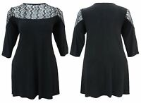 New sexy shoulder lace detail swing dress UK SIZE 16 - 26 Long floaty top BLACK