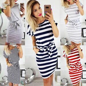 Womens Summer Short Sleeve Round Neck Striped Slim Fit T-shirt ...