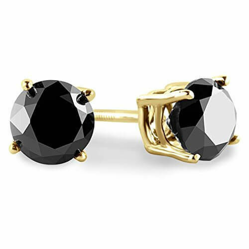 3.00 CT Round Black Diamond 14K Blanc ou Or Jaune Clous Boucles d/'oreilles