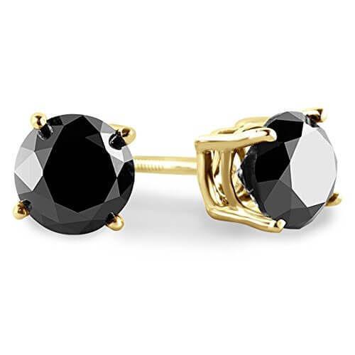 3.00 CT Round Black Diamond 14K Blanc ou Or Jaune Clous Boucles d/'oreilles