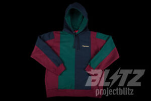 84a0115a04e Image is loading SUPREME-TRICOLOR-HOODED-SWEATSHIRT-BURGUNDY-S-M-L-XL-FW18-