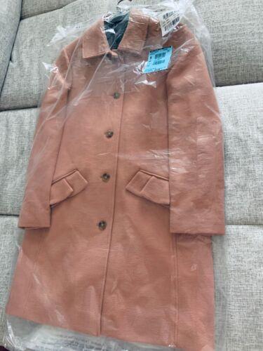 8 $395 J crew Topcoat ruffle pockets double cloth wool coat WARM CEDAR PINK 4