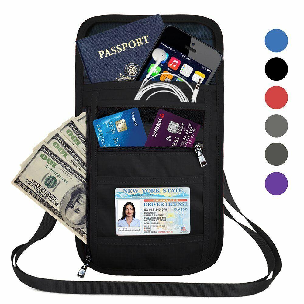 RFID Blocking Passport Holder Neck Pouch Travel Wallet Case Bag with Card Slots