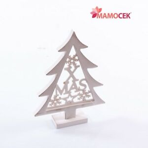 Albero Di Natale In Legno Shabby.Dettagli Su Albero Di Natale Legno Bianco Xmas H25 Decorazione Casa Ufficio Scrivania Shabby