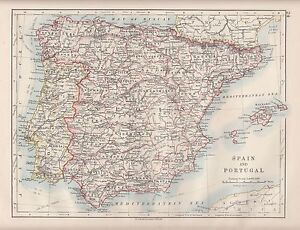 Map Of Spain Huesca.Details About 1921 Map Spain Portugal Balearic Isles Leon Granada Huesca Beira