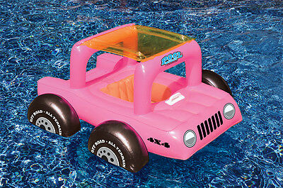 Pool Buggy Toddler Seat FLOAT Kid JEEP Vinyl SUV ATV Swim Pool Party PINK 98450P