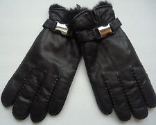 Men's Grandoe 100% Rabbit Fur Fully Lined Genuine Leather Gloves,Black, L/XL