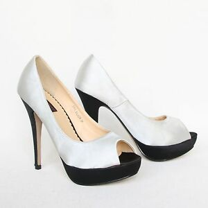 plateau high heels 39 grau silber stilettos pumps. Black Bedroom Furniture Sets. Home Design Ideas