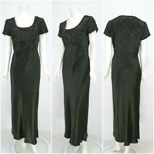 Womens-Laura-Ashley-Vintage-Silk-Dress-Green-Evening-Long-Size-14UK