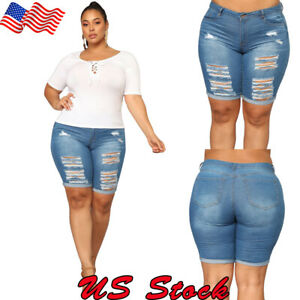Plus-Size-Women-Shorts-Denim-Skinny-Ripped-Hot-Pant-Beach-Holiday-Trousers-Jeans