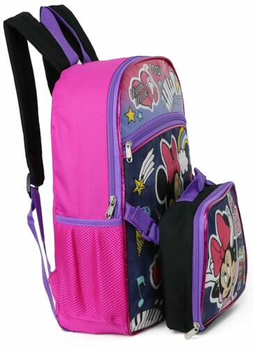 """Disney Minnie Mouse 16/"""" Backpack With Detachable Matching Lunch Box 2 Piece Set"""